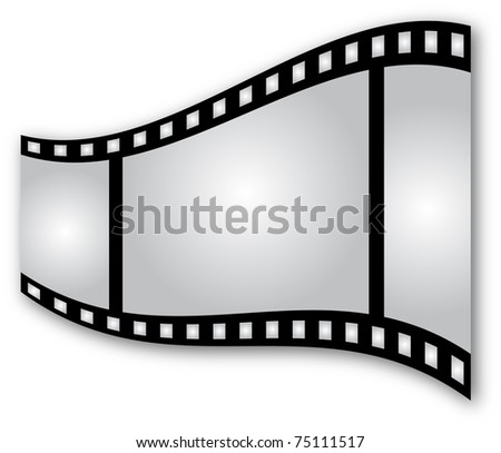 Curved film strip on white background - stock photo