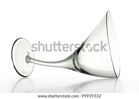 Curved glass on a white glossy surface