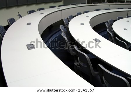 curved lecture hall - stock photo