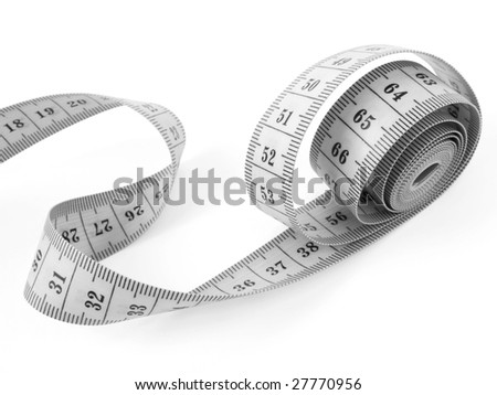 curved measuring tape fragment on white - stock photo