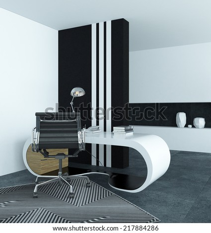 Curved modern white desk in a study with a dramatic black and white striped cupboard and striped geometric carpet in grey and white interior decor - stock photo