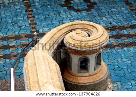 Curved outdoor steps - stock photo
