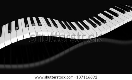 Curved piano keyboard 3d render - stock photo
