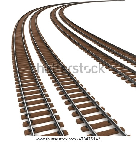 Curved rails and wooden sleepers. 3d illustration. Isolated on white.