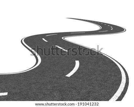 Curved Road going away - stock photo