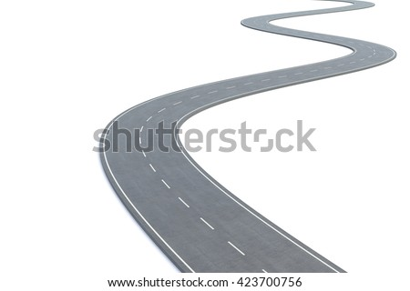 Curved road isolated on white background. 3d illustration - stock photo