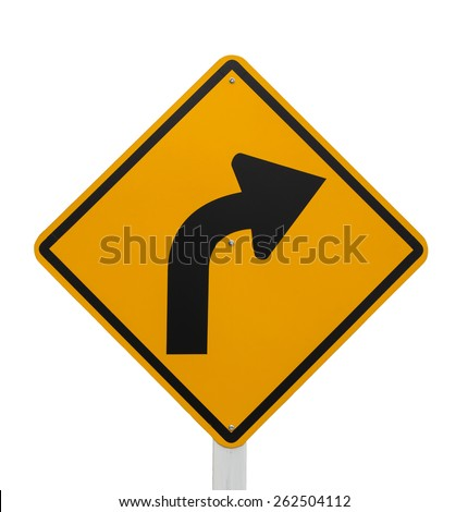 Curved Road Traffic Sign on the road at country side on white background - stock photo