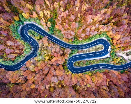 Curved road trough the forest. Hi mountain pass in Transylvania, Romania. Aerial view from a drone.