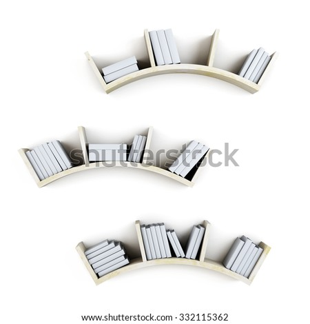 Curved shelves with books isolated on white background. 3d illustration. - stock photo