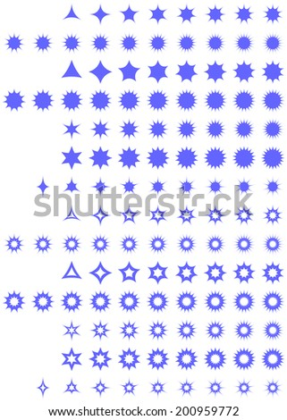 Curved star collection - jpg version - stock photo
