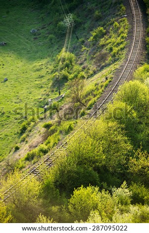 Curving Railway Track through a summer Forest.