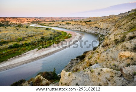 Curving River at Theodore Roosevelt Wilderness - stock photo