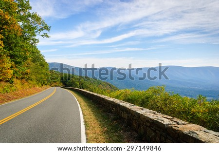 Curving Road at Shenandoah National Park