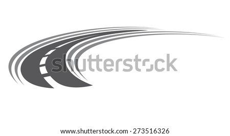 Curving tarred road or highway icon with centre markings with diminishing perspective to infinity, cartoon illustration isolated on white