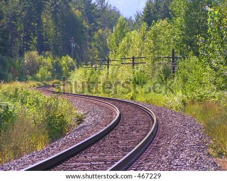 Curving Train Track - stock photo
