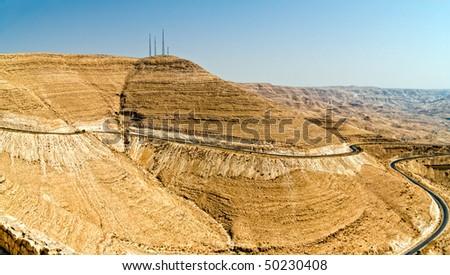 curvy highway with desert landscape in Jordan., Wadi Mujib - King 's road area - stock photo