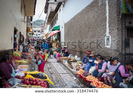 CUSCO, PERU - CIRCA MARCH  2015: Unidentified people at the market in Cusco, Peru