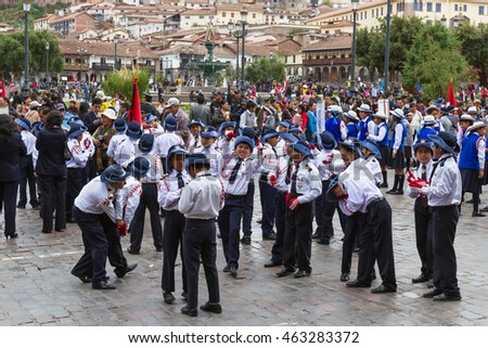 Cusco, Peru - May 12 : School children in uniform in a civic parade celebrating National Independence, parade known as the swearing of the School Police. May 12 2016, Cusco Peru.