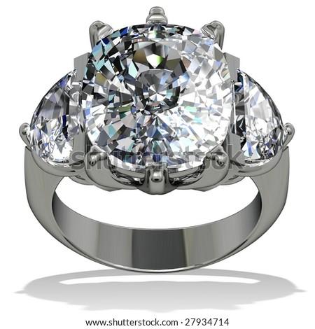 Cushion shape diamond ring on white - stock photo