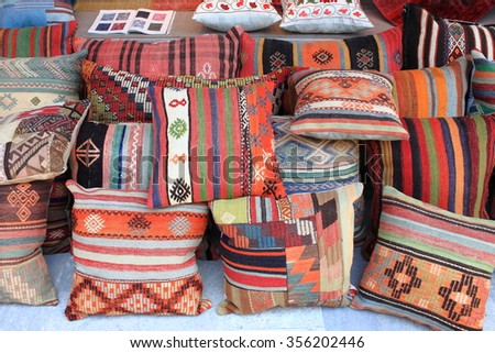 Cushions shop in Istanbul, Turkey - stock photo