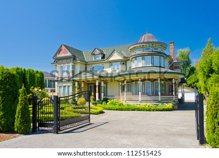 Custom built big luxury house residential stock photo for Custom build house online