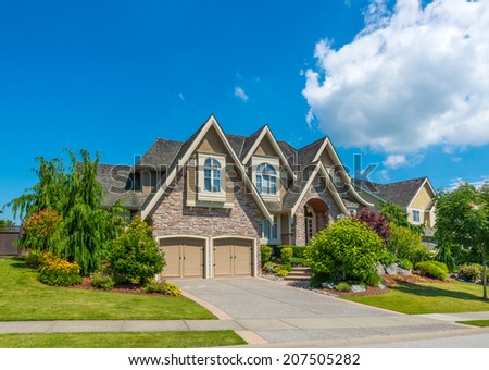 Perfect Neighborhood Houses Suburb Spring North Stock