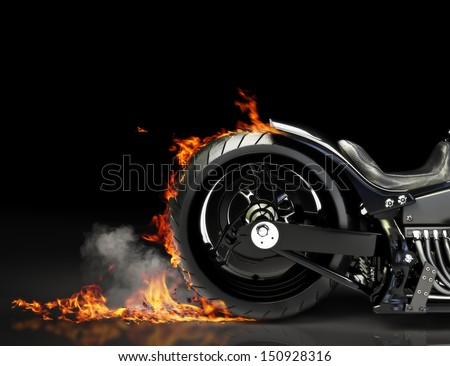 Custom motorcycle burnout on a black background. Room for text or copy space - stock photo