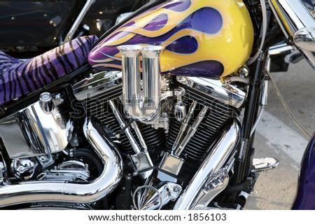 Custom Motorcycle Detail - stock photo