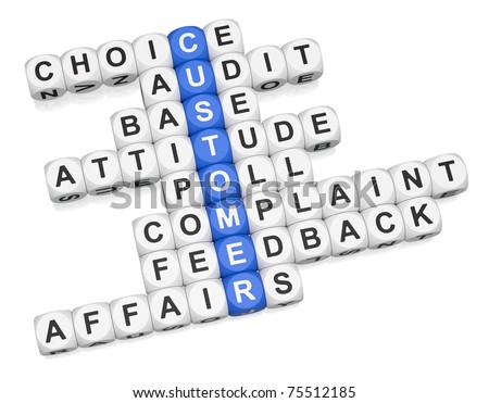 Customer affairs crossword on white background 3d render