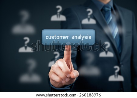 Customer analysis concept. Marketing specialist click on virtual button and customers with question mark against head. - stock photo