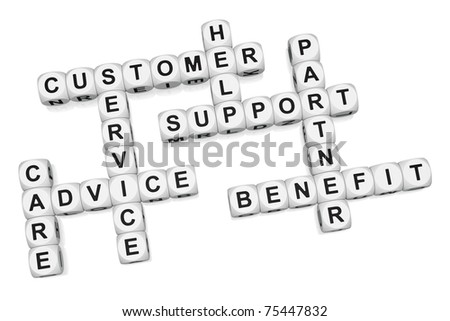 Customer benefit of quality service crossword on white background 3d render