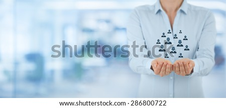 Customer care, care for employees, life insurance and marketing segmentation concepts. Protecting gesture of businesswoman or personnel, icons representing group of people. Wide banner composition. - stock photo