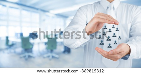 Customer care, care for employees, life insurance and marketing segmentation concepts. Protecting gesture of businessman or personnel and icons representing group of people. - stock photo