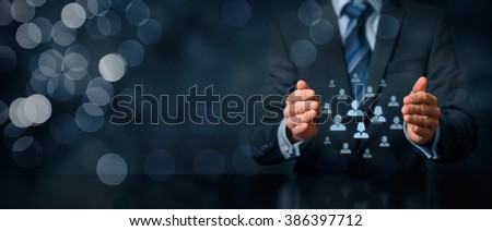 Customer care, care for employees, life insurance, customer relationship management (CRM) and human resources concepts. Protective gesture of businessman or personnel and icons representing people. - stock photo