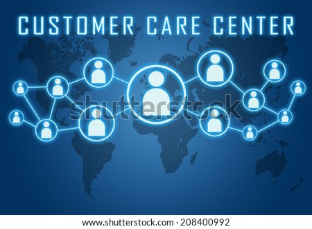 Customer Care Center concept on blue background with world map and social icons. - stock photo