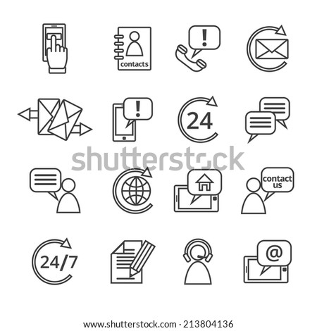 Customer care contacts in line style icons set of online and offline support services isolated  illustration