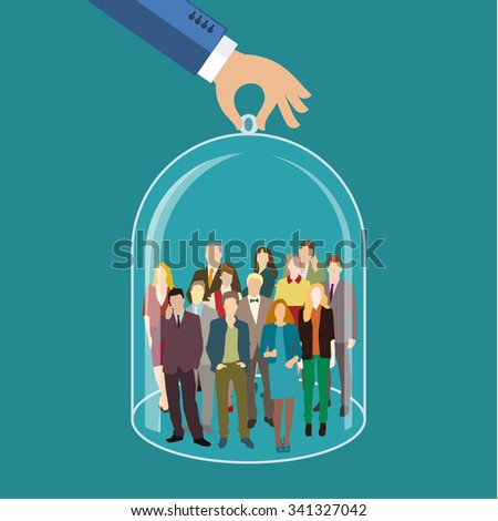 Customer care, human resources, life insurance, sales force and marketing segmentation concepts. Businessman or personnel and icons representing group of people. Flat illustration - stock photo