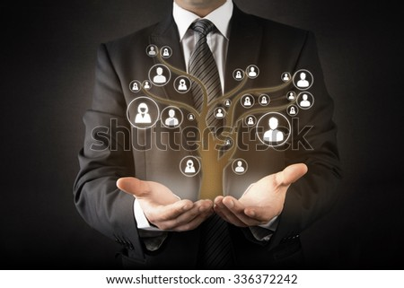 Customer care with human tree abstract concept - stock photo