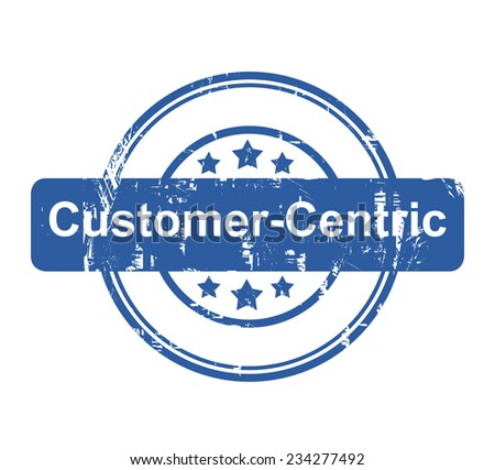 Customer Centric business concept stamp with stars isolated on a white background. - stock photo