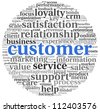 Customer concept in word tag cloud on white - stock photo