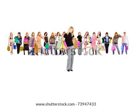 Customer Diversity Among the Crowd - stock photo