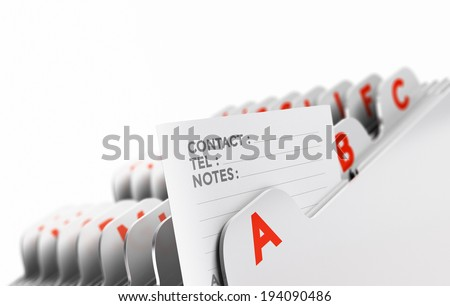 Customer file organized alphabetically with focus on a contact note, white background.