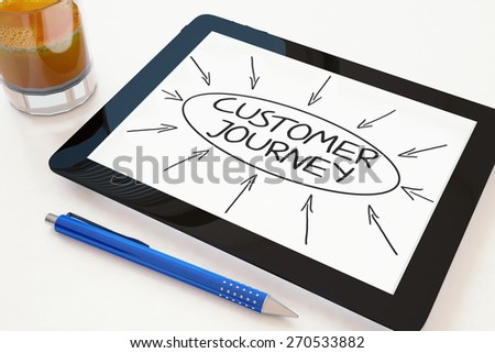 Customer Journey - text concept on a mobile tablet computer on a desk - 3d render illustration. - stock photo
