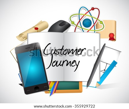 customer journey tools and sign illustration design graphic - stock photo