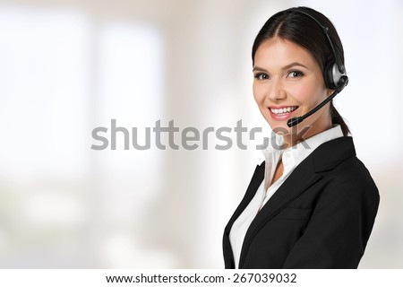 Customer, operator, helpdesk. - stock photo
