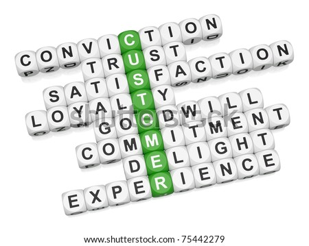 Customer positive experience crossword on white background 3D render - stock photo