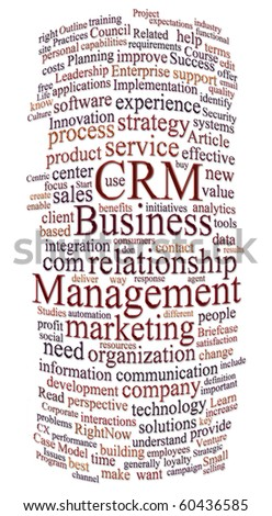 customer relations management word or tag cloud - stock photo