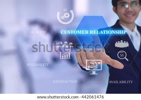 CUSTOMER RELATIONSHIP concept presented by  businessman touching on  virtual  screen  - stock photo