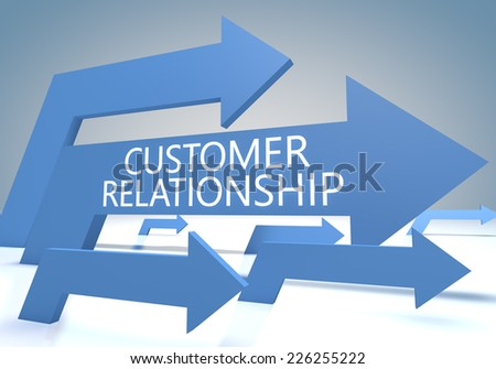 Customer Relationship render concept with blue arrows on a bluegrey background. - stock photo