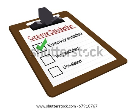 Customer Satisfaction clipboard survey isolated over a white background - stock photo